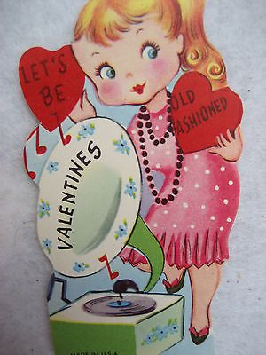 "Girl Old Fashioned Victrola Record Player ""Let's be Old-Fashioned Valentines"""