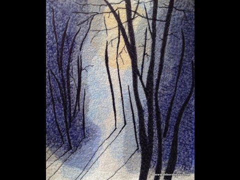 Thread Sketching in Action No 70 - Long Shadows in Winter. Machine stitched thread art of this winter scene uses a combination of layered fabric collage, thread painting and thread sketching. Deborah Wirsu continues the demonstration series Thread Sketching in Aciton with this atmospheric winter scene.