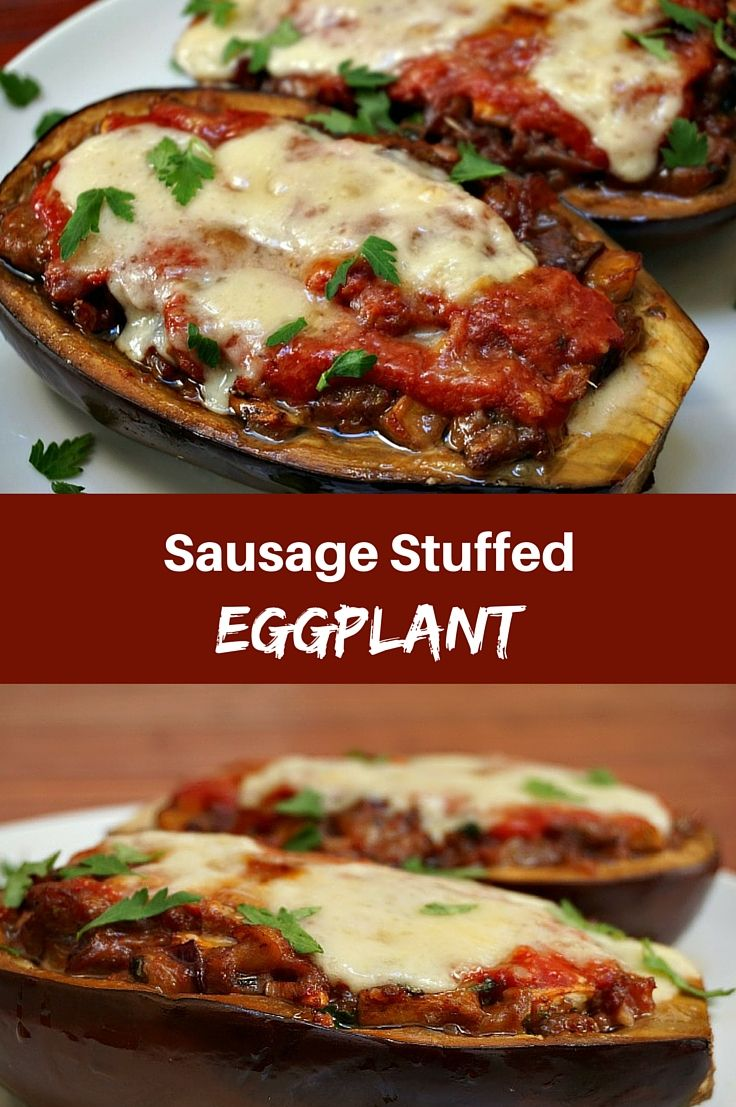 Stuffed Eggplant with Sausage and Provolone Cheese ...