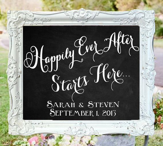 Chalkboards For Weddings: Happily Ever After Starts Here • Wedding Chalkboard Sign