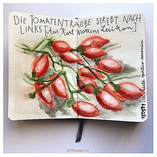 die tomatentraube strebt nach links