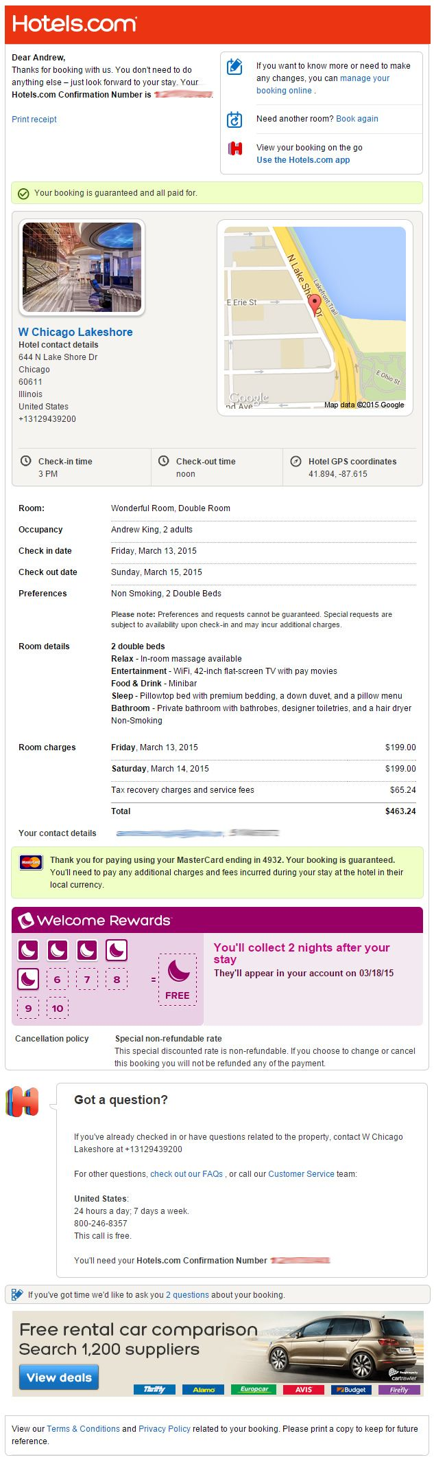 Confirmation email from Hotels.com