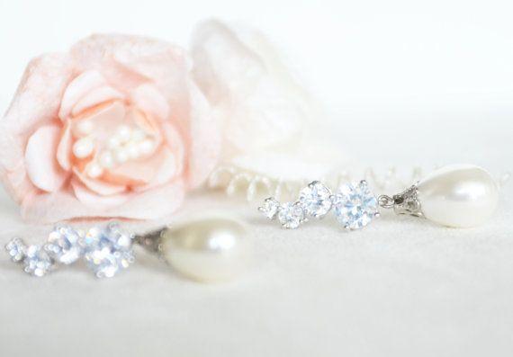 majorca pearl earrings cubic zirconia earrings ivory by sestras