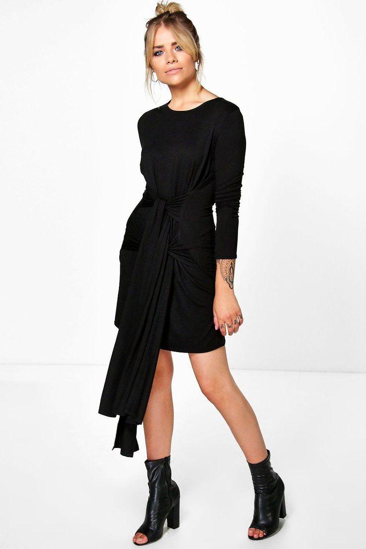 Antonina Double Tie Waist Shift Dress at boohoo.com