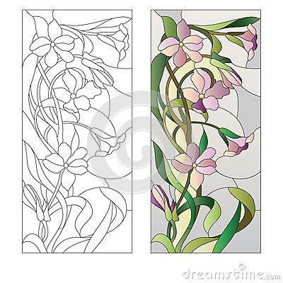 dreamstime.com stained glass flower | Stained glass window with purple floral pattern.