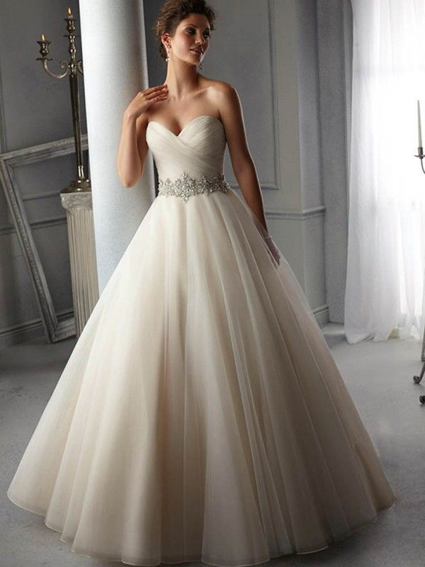 A-Line/Princess Sweetheart Organza Sleeveless Court Train Wedding Dresses, Ruffles Beaded Sash Wedding Dress