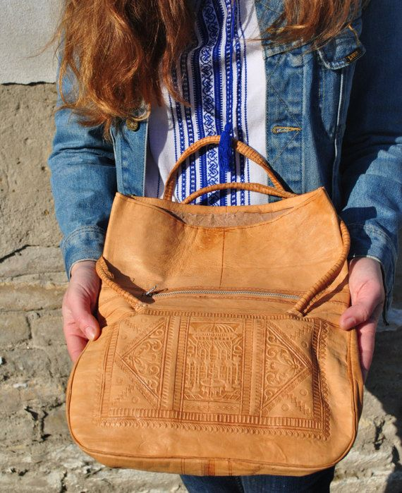 Tooled leather bag tooled leather purse by BalthazarVintage