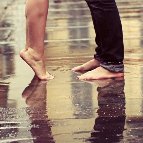 Kiss me barefoot in a rain puddle… I wanna feel the cool water tickling my toes while your soft warm lips mesh with mine. ♥*¨`*•ღღ ~Charlotte (PixieWinksFairyWhispers)