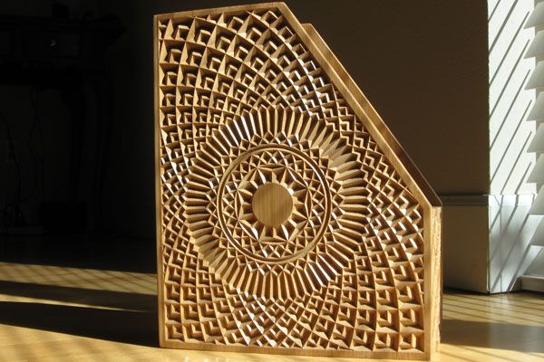 Bamboo magazine rack created by artcam express competition