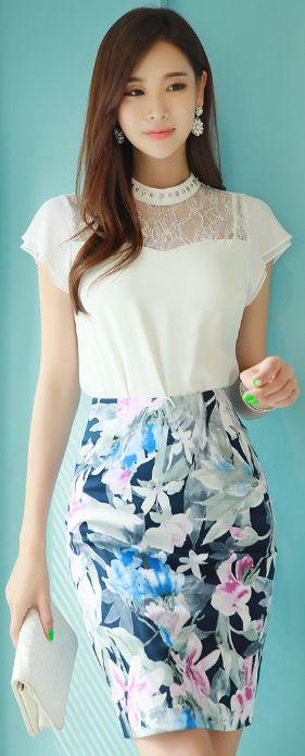 StyleOnme_Floral Print H-Line Skirt #floral #summer #koreanfashion #kstyle #kfashion #seoul #pencilskirt #feminine #dailylook