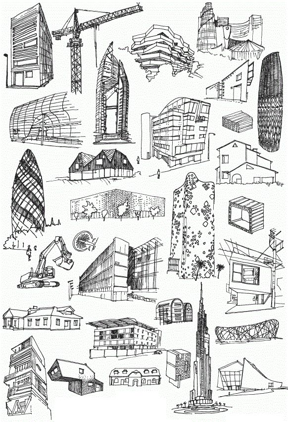 archatlas: XXI Architecture Piotrek Chuchla Poster commissioned by Fundacja Bęc Zmiana concerning present/future architecture problems and theories. Over 100 drawings of contemporary futuristic modern and casual unfinished buildings construction machines and cranes has formed a typology of todays architecture condition. Image and text by Piotrek Chuchla.