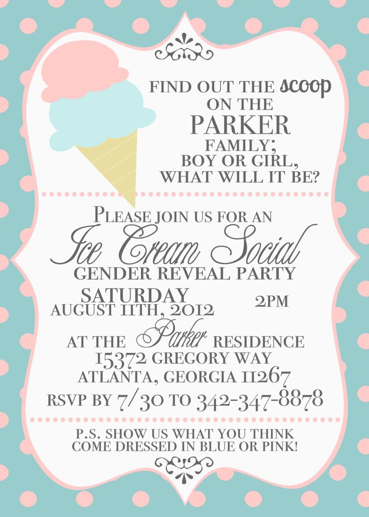 @Christina Piazza - For the next shower for church if the couple doesn't want to find out!!!! :-)  Ice Cream Social Gender Reveal Invitations