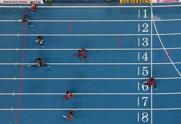 LaShawn Merritt of the United States crosses the line to win gold in the Men's 400 metres final during Day Four of the 14th IAAF World Athletics Championships Moscow 2013 at Luzhniki Stadium on August 13, 2013 in Moscow, Russia. (Photo by Cameron Spencer/Getty Images)