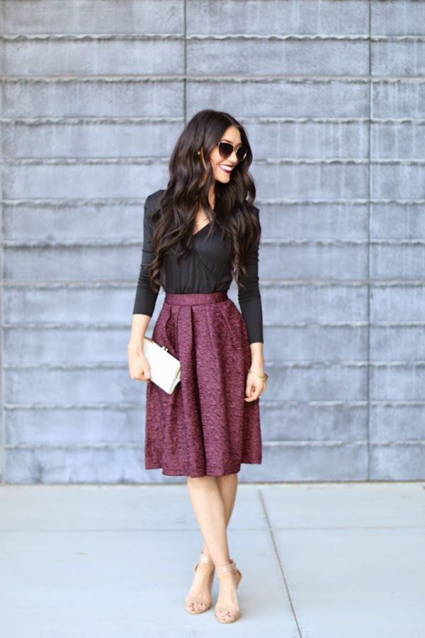 (like the combination of long flowy skirt and elbow-length shirt)  Women's fashion | Cranberry high waisted skirt with black blouse and tanned heels