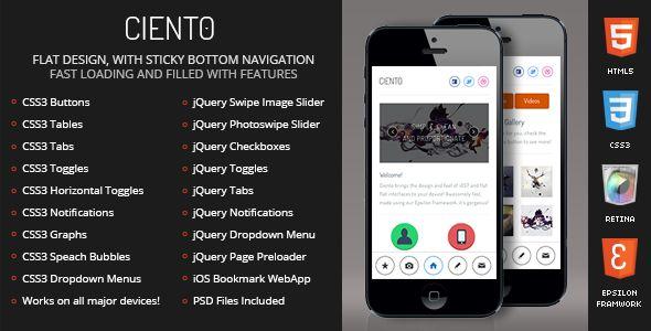 Ciento Mobile Retina | HTML5 & CSS3 And iWebApp