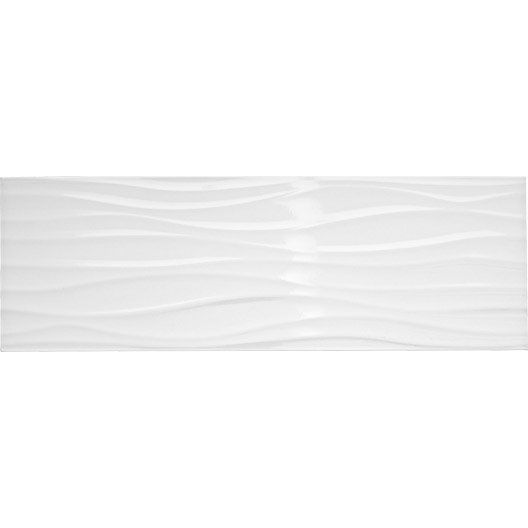 Carrelage mural d cor relief wave artens en fa ence blanc for Carrelage faience blanc