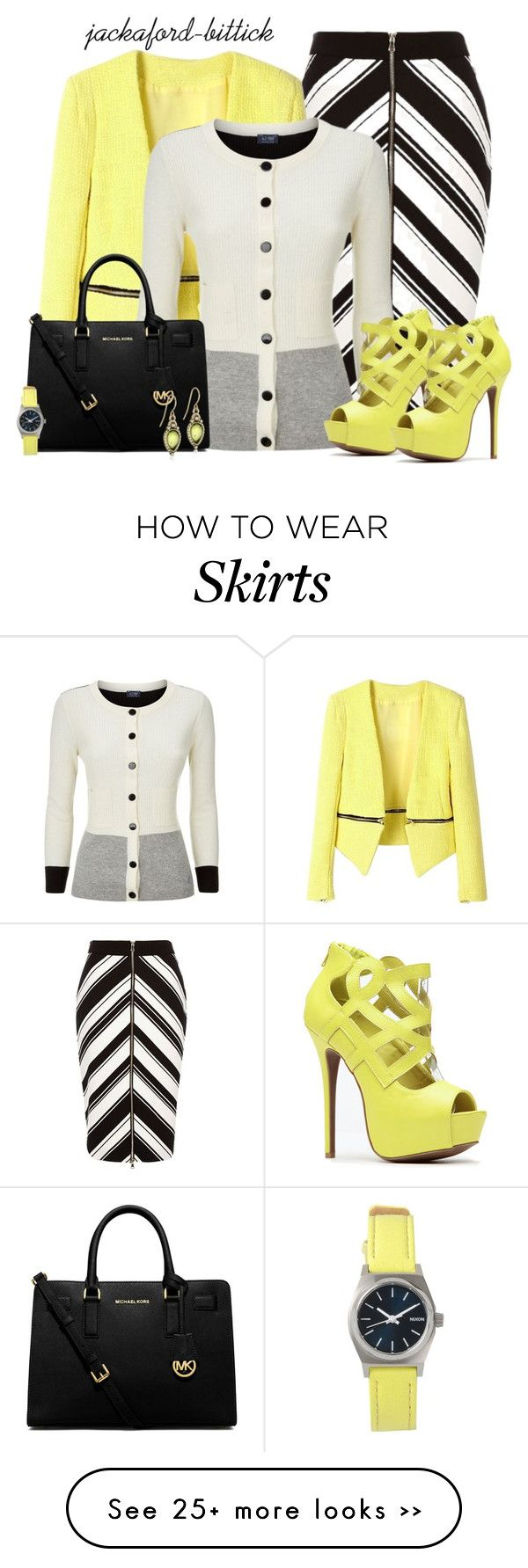 """""""Skirt and Blazer Contest3"""" by jackaford-bittick on Polyvore featuring River Island, Armani Jeans, MICHAEL Michael Kors, Nixon and The Sak"""