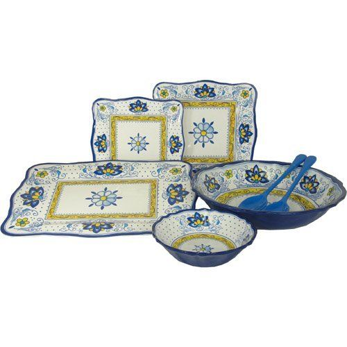 Amalfi Blue and Yellow Le Cadeaux Melamine Dinnerware, 16 PC Set by Le Cadeaux. $219.99. Dishwasher safe-Triple weight, tested for durability. Not Microwave safe (melamine never is). Safe enough for children. 4 salad, dinner, ceral, 4 pc serving set. Designs inspiOrange by French and Italian pottery, purposely crafted with a distressed look. Heavy and durable special melamine, triple weight to ensure strength and resist shattering. Dishwasher safe, but not microwave...