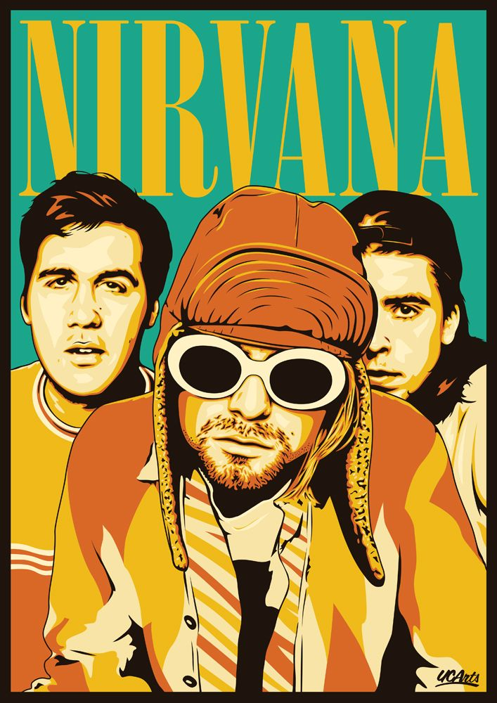 Nirvana's logo is written with Bodoni(specifically Bodoni Poster-Compressed).