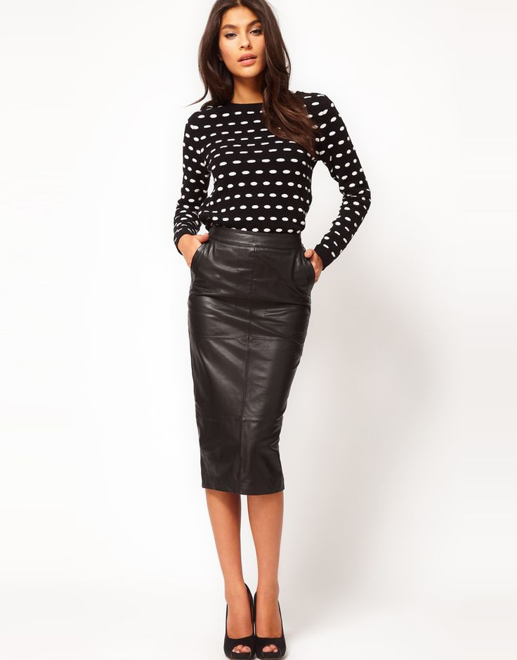 Must have this pencil leather skirt via ASOSFashion Shoes, Polka Dots, Style, Leather Skirts, Leather Pencil Skirts, Black Leather, Fall Fashion, Work Outfit, Leather Pants