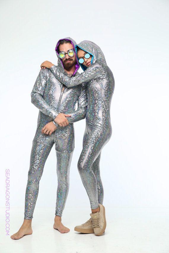 Holographic Mens Festival Jumpsuit  12 Colors  by SeaDragonStudio