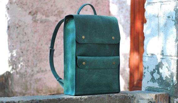 Mochila de cuero, mochila hecha a mano, mochila escolar, morral del ordenador portátil, mochila para hombre, mochila marrón, bolso de cuero, P001 verde