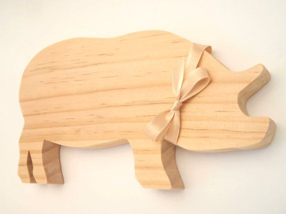 Handmade Decorative Wooden Standing Pig by TwoandSixCreations