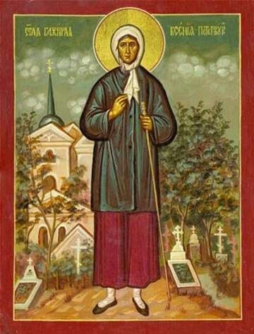 Icon of bl.zxenia by greek iconpainter constantine yousiss