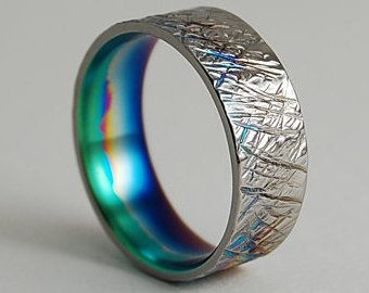 Wedding Bands  Titanium Rings  The Cosmos Bands in Sky Blue