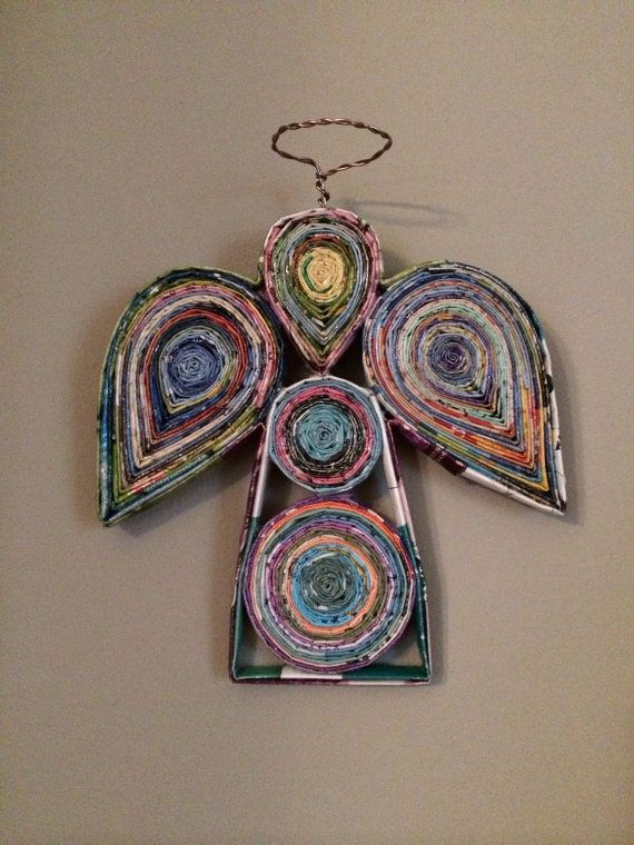 Recycled Magazine Guardian Angel - Colorful Rolled Magazine Art - Wall Art - Nursery / Children's Decor -  Baptism - Unique Christian Gifts