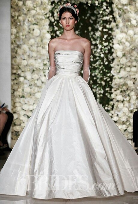 Strapless Silk Taffeta Ball Gown Featuring Straight Across Neckline, Crystal/Beading Design Details On Bodice & Full A-Line Ball Gown Skirt; Reem Acra Fall 2015>>>>