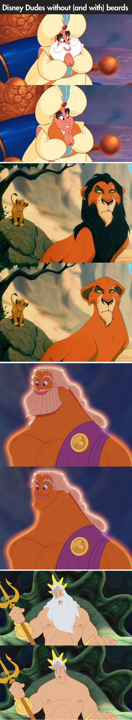 What happens when you remove the beards from famous Disney characters.