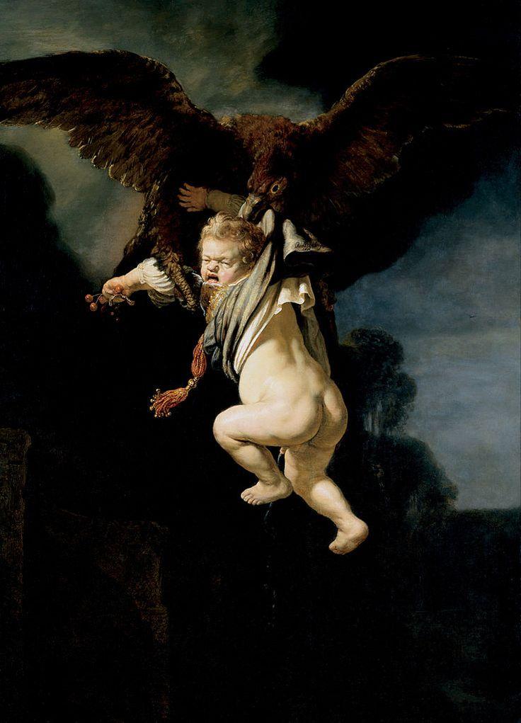 Rembrandt, Ratto di Ganimede, olio su tela (177x130 cm), 1635, Staatliche Kunstsammlungen di Dresda.