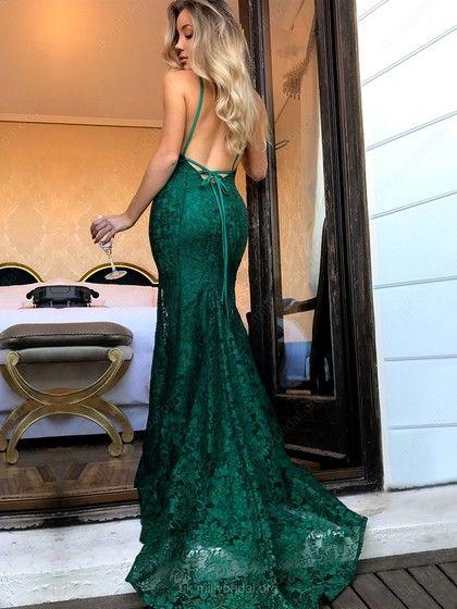 4be376aac2e Lace V-neck Trumpet Mermaid Sweep Train Lace Prom Dresses  UKM020104811