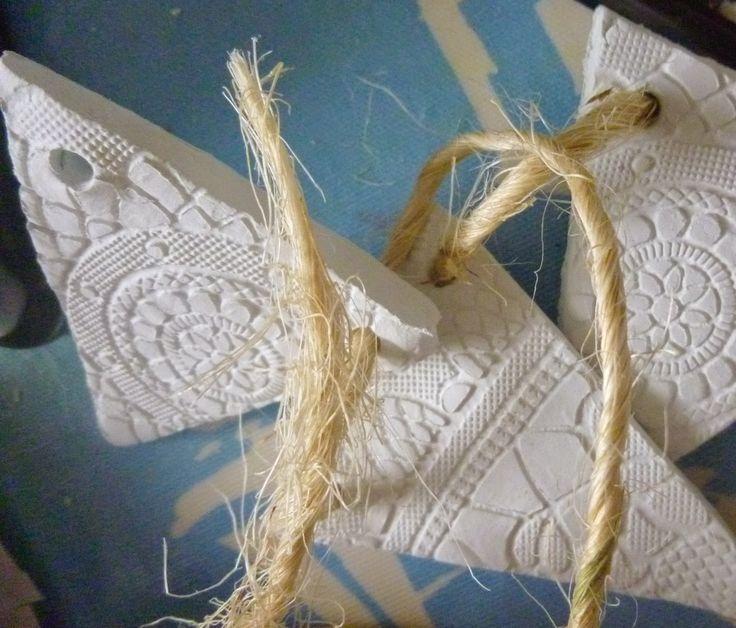 { Genesis found x o x o }: air dry clay + plastic doily's = bunting