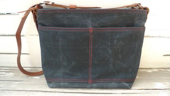 Black waxed Canvas Zipper Closure Tote Bag   Leather  by ottobags, $79.00
