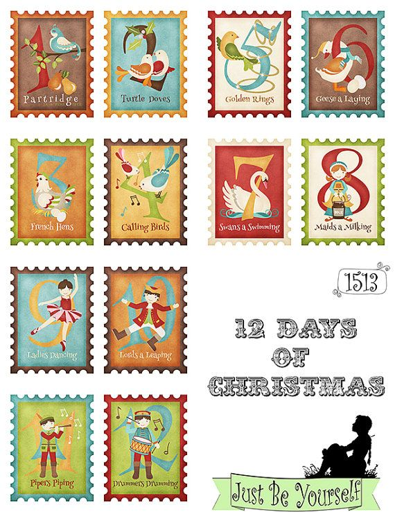 12 Days of Christmas Greeting Card Fronts Set of 12 images Printable 8.5 x 11 inch PDF & JPEG included (1513)
