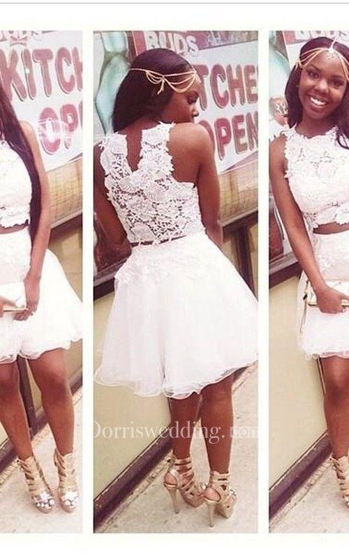 a40206c7a0d White Lace Appliques Mini Cocktail Dresses Scoop A-Line Homecoming Dresses