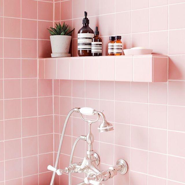 Interior design   Bathroom   Pink tiles   Living   Home   Inspo ...
