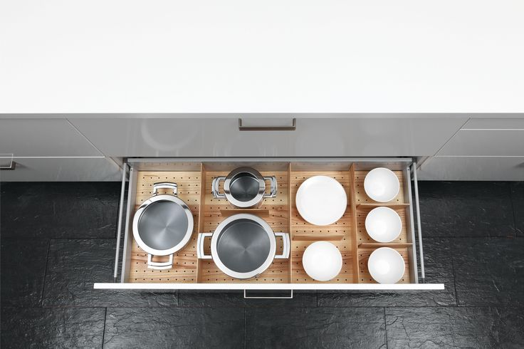 Drawer ash heartwood organiser for pots, pan and plates storage #kitchen #clever #storage #decluttering #bespoke #design into Greenwich, London