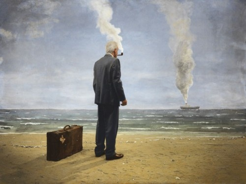 Artwork by Teun Hocks (NL) Love the humor and work of this man: www.teunhocks.nl/.... First he creates/paints a setting, makes a picture with himself as model, and paints the picture. Great artis