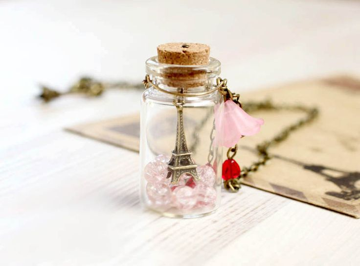 """Paris Bottle necklace - For traveler - """"From Paris with Love"""""""