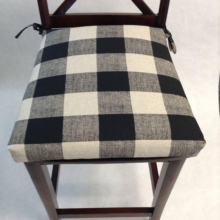 Chair cushions plaid black and cream anderson fabric