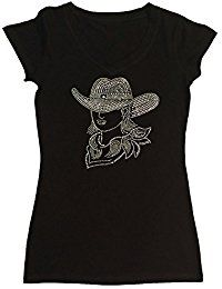 New RhinestoneSuperstore Womens Fashion T-shirt with Sexy Cowgirl with Hat in Rhinestones online. Find the perfect adidas Tops-Tees from top store. Sku IHTF73993VDSA10765