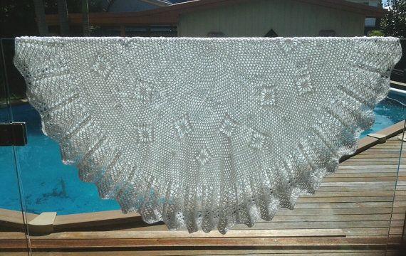 Baby Blanket Circular crocheted shawl white by frillydaisy on Etsy