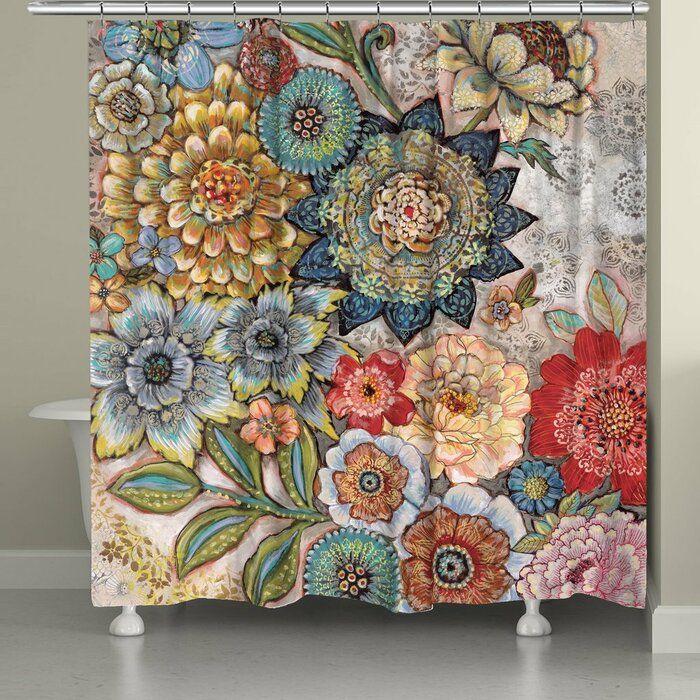World Menagerie Haskell Boho Bouquet Single Shower Curtain Boho Bathroom Curtains Shower