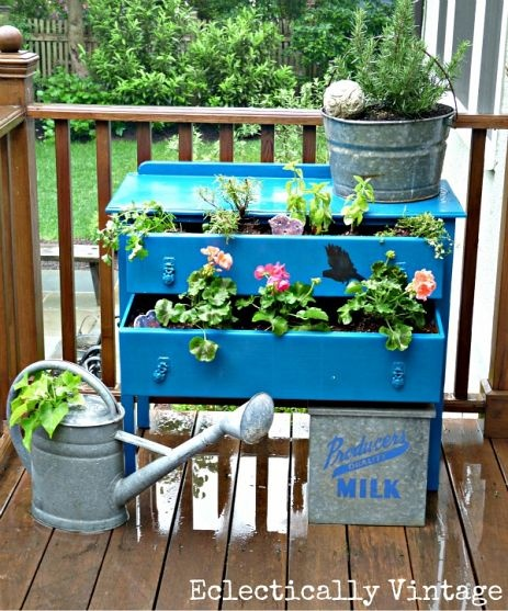 Old dresser becomes charming new planter.