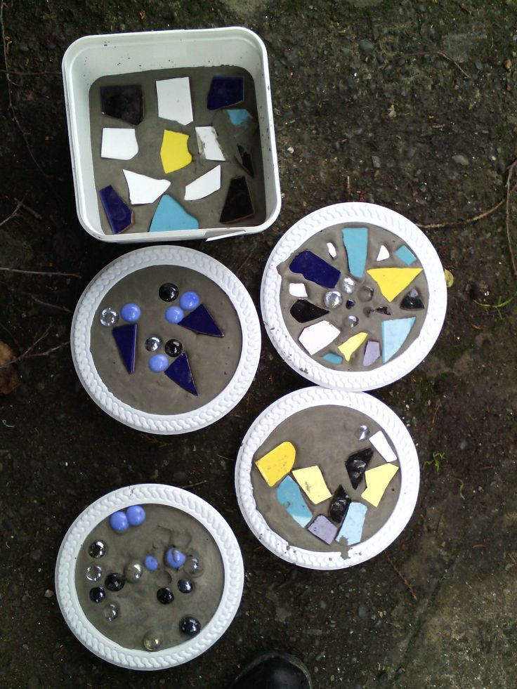 Children's mosaic tile art, in molds until hardened