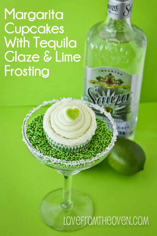 Margarita Cupcake Recipe; lime, tequila and sprinkles!
