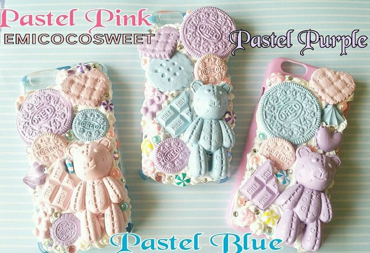 Kawaii Pastel Teddy Bear Decoden Phone Case,Decoden iPhone 6/6s Kawaii Phone
